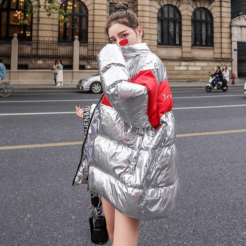 Mode surdimensionné hiver doudoune femmes en métal argent coton rembourré Parka femmes 2019 nouveauté épaissir chaleur hiver manteau