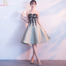 Knee Length Graduation Dresses 2019 Back to School Strapless Black Lace Appliques Reflective Homecoming Gowns Walk Beside You