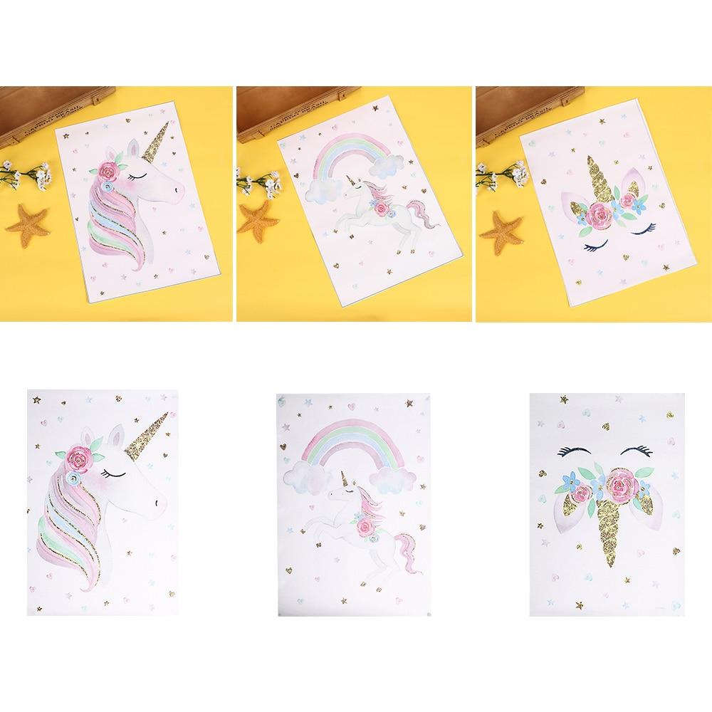 New Cute Children Poster Rainbow Unicorn Canvas Wall Art Print ...