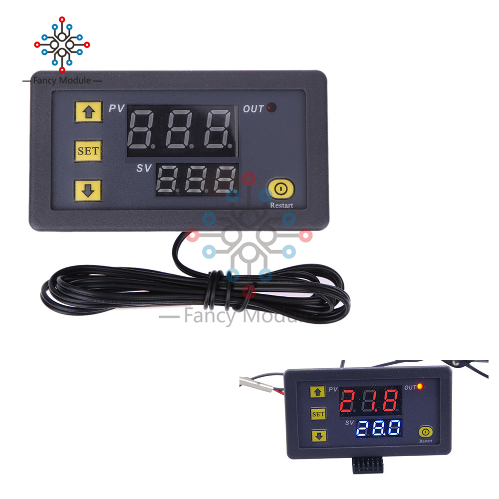 12V 20A Mini Digital Temperature Controller Thermostat Regulator Red and Blue LED Display Probe Sensor W3230 0.1 Celsius accurac 0 56 red blue dual display digital led thermometer temperature meter waterproof metal probe sensor module 20 100 celsius