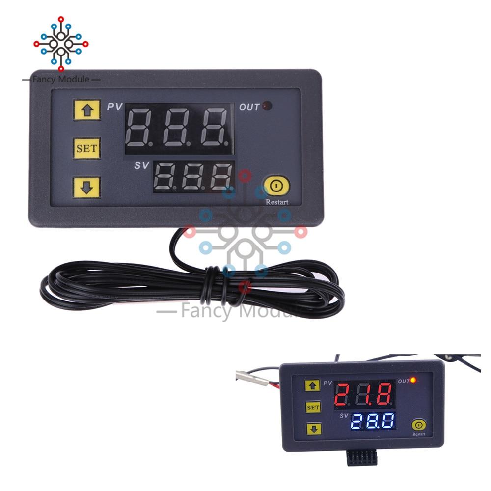 12V 20A Mini Digital Temperature Controller Thermostat Regulator Red and Blue LED Display Probe Sensor W3230 0.1 Celsius accurac