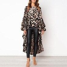Plus Size Blouse Women Long Beach Style Long Flare Sleeve Longline Leopard  Elegant O-neck Travel Street  Wear Women Top Blouse