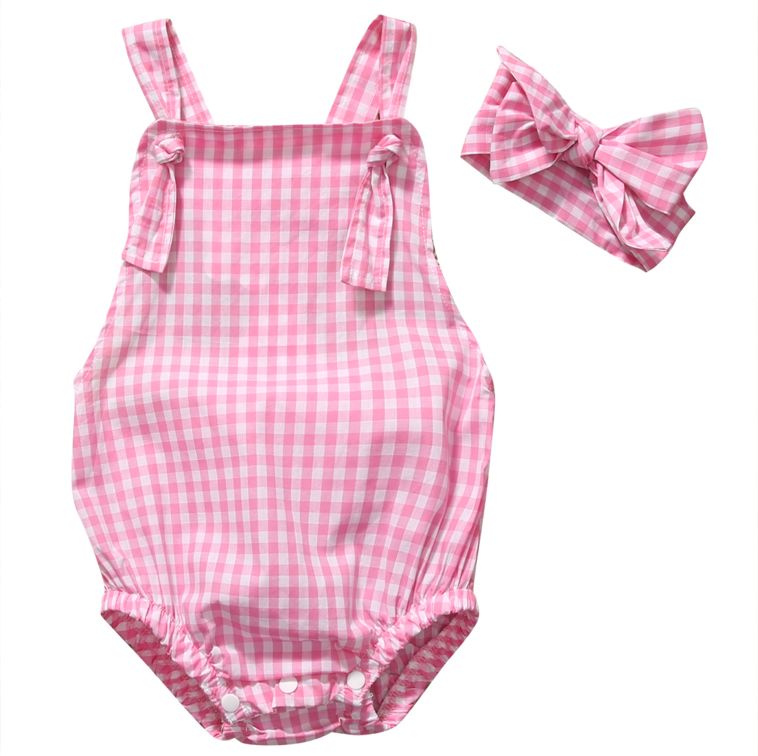 2PCS Set Pink Plaid Romper Clothes Cute Newborn Baby Girls Summer Sleeveless Halter Bebes Jumpsuit+Headband Outfit Sunsuit fashion 2pcs set newborn baby girls jumpsuit toddler girls flower pattern outfit clothes romper bodysuit pants