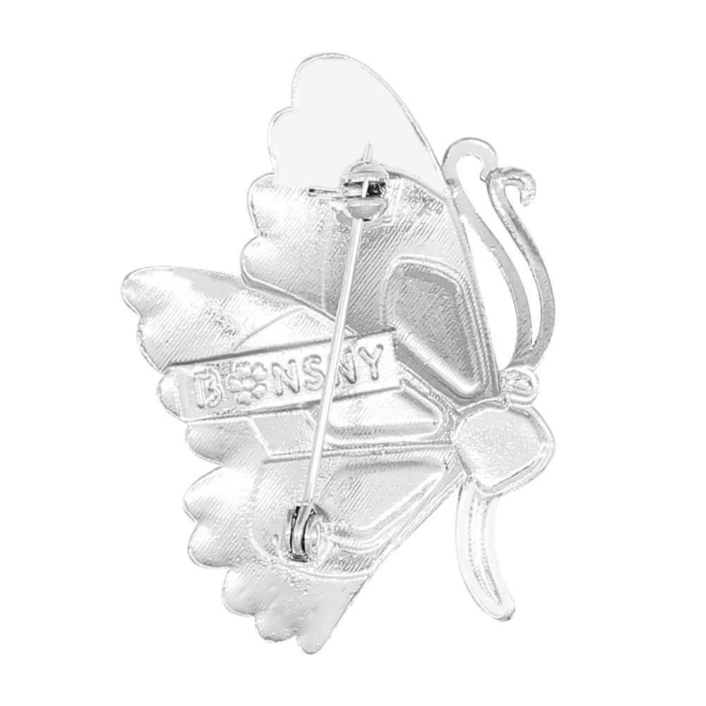 Bonsny Enamel Paduan Berlian Imitasi Fashion Butterfly Bros Pakaian Syal Pin Cute Serangga Perhiasan untuk Wanita Gadis Hadiah Dekorasi