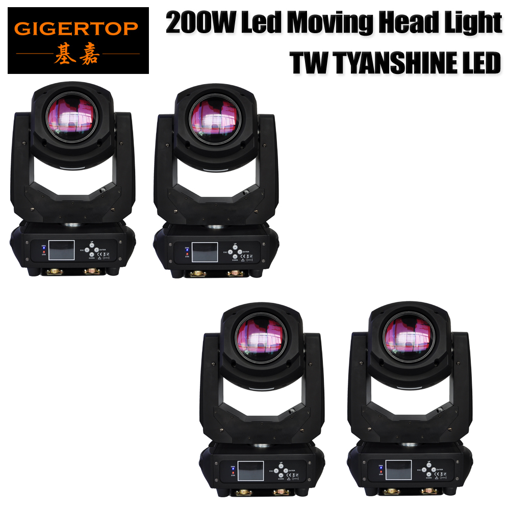 TIPTOP 4 Unit 240W High Power Tyanshine Led Moving Head Light 7 Color Glass Wheel/8 Static+6 Rotate Gobo Wheel 2x Hanging Hook