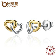 BAMOER 2017 New Arrival 925 Sterling Silver Heart to Heart Small Stud-Earrings Women Engagement Jewelry PAS442