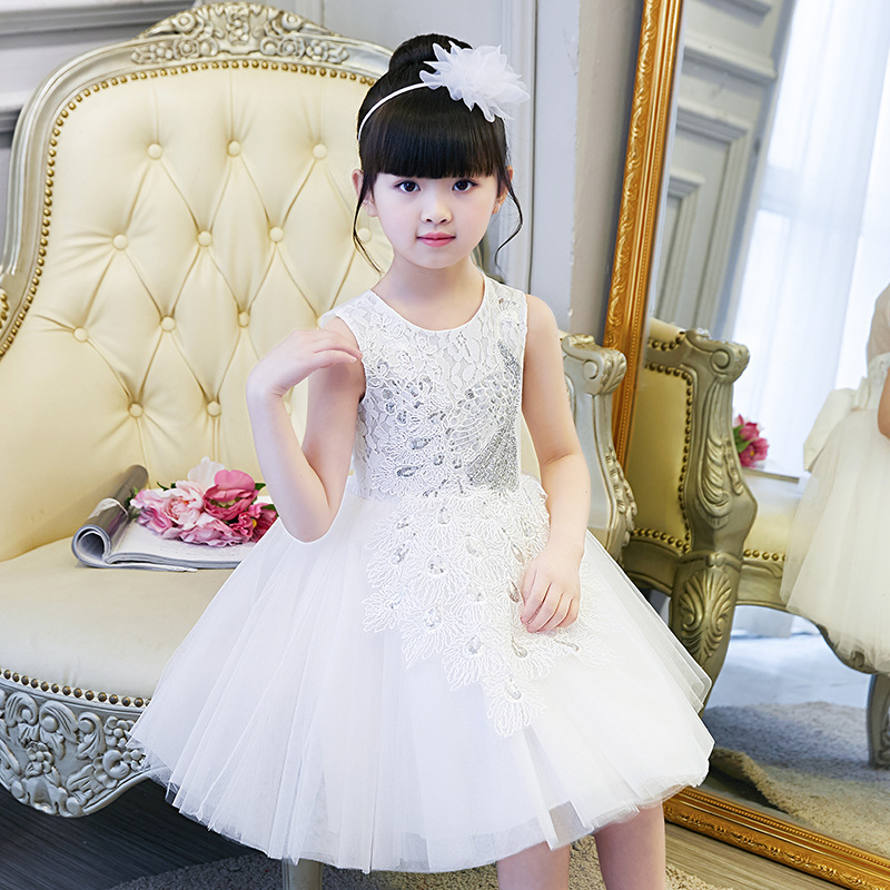 2018 Girls floral Princess party Dress summer children clothing girl Wedding Birthday show 3-10 years tutu baby girl clothes