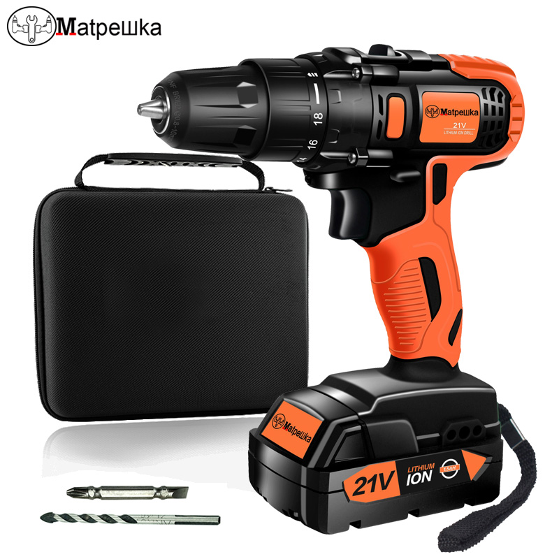 Household Power Tools 21V Cordless Electric Screwdriver Mini Drill  Multi-Function Lithium-Ion Rechargeable Electric Drill