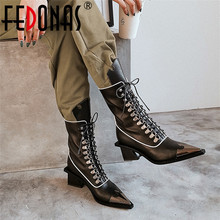 FEDONAS Fashion Punk Strange Heels Women Mid Calf Boots Cross Tied Genuine Leather Motorcycle Boots Party Night Club Shoes Woman