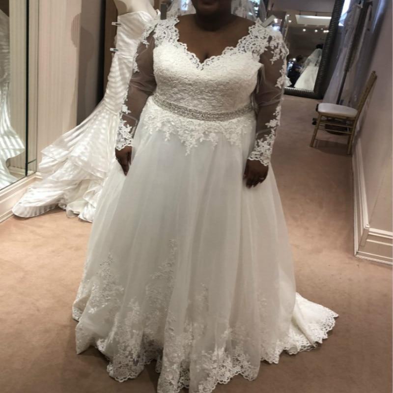 Nigerian Fashion African Wedding Dresses Plus Size A Line V Neck Tulle Appliques Women 2019 Beach Garden Wedding Dress Rustic