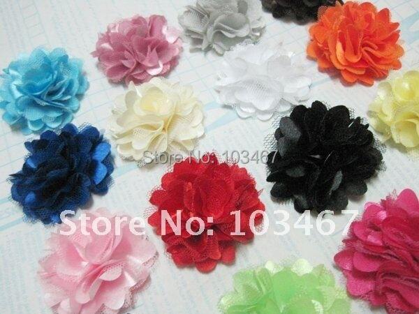 "21 colors -  360pcs/lot Wholesale 2"" Mini Satin Mesh Flowers lowest price"