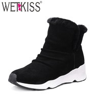WETKISS 2018 Wool Liner Women Snow Boots Genuine Suede Leather Slip On Lamb Fur Shoes Woman
