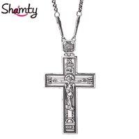 תהילה Shamty מלך ישו הנצרות כסף עתיק עלה צבע זהב שרשרת צלב שרשרת תליון נוצרי מתנת פריטי