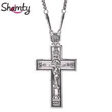 Shamty תהילה מלך ישו צלב שרשרת עתיק כסף עלה זהב צבע הנצרות תליון שרשרת תכשיטי הנוצרי פריטים מתנה