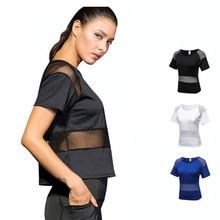 2019 Sports Yoga T Shirt Women's Sportswear Mesh Female Sexy Short Sleeves Loose Gym Shirt White Quick Dry Fitness Running Tops цена и фото