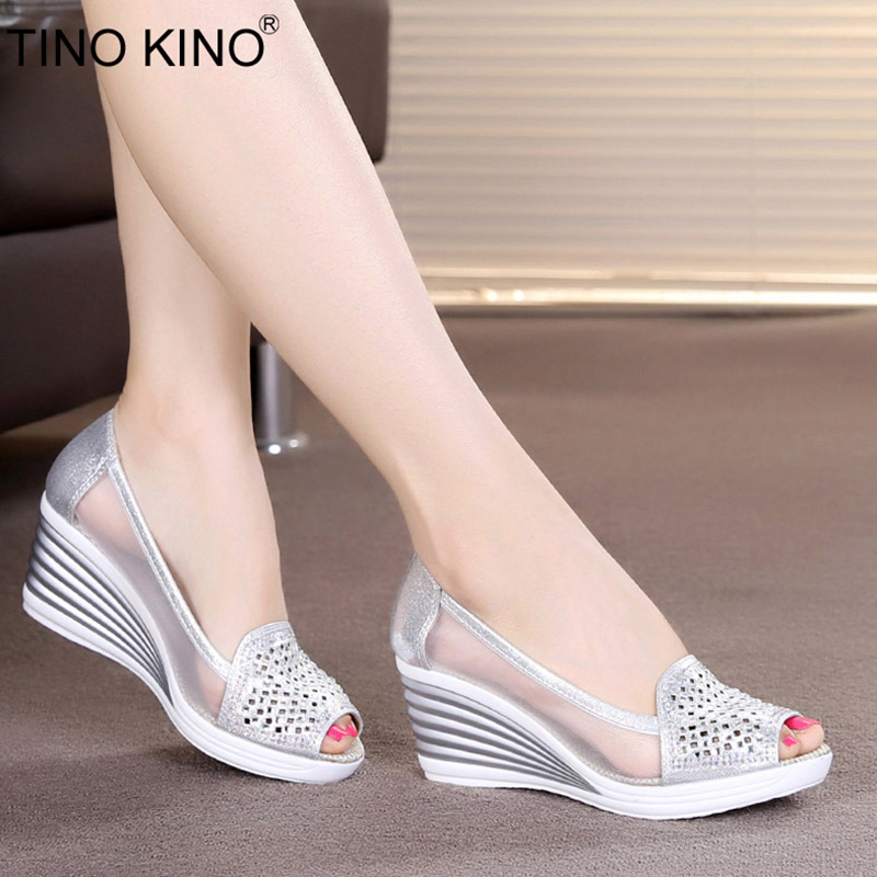 Wedges Shoes Platform Summer Sandals Slip-On High-Heels Female Breathable Peep-Toe Fashion title=