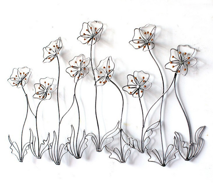 Modern Home Decor Metal Wall Art Creative Metal Flowers Golden Iron ...