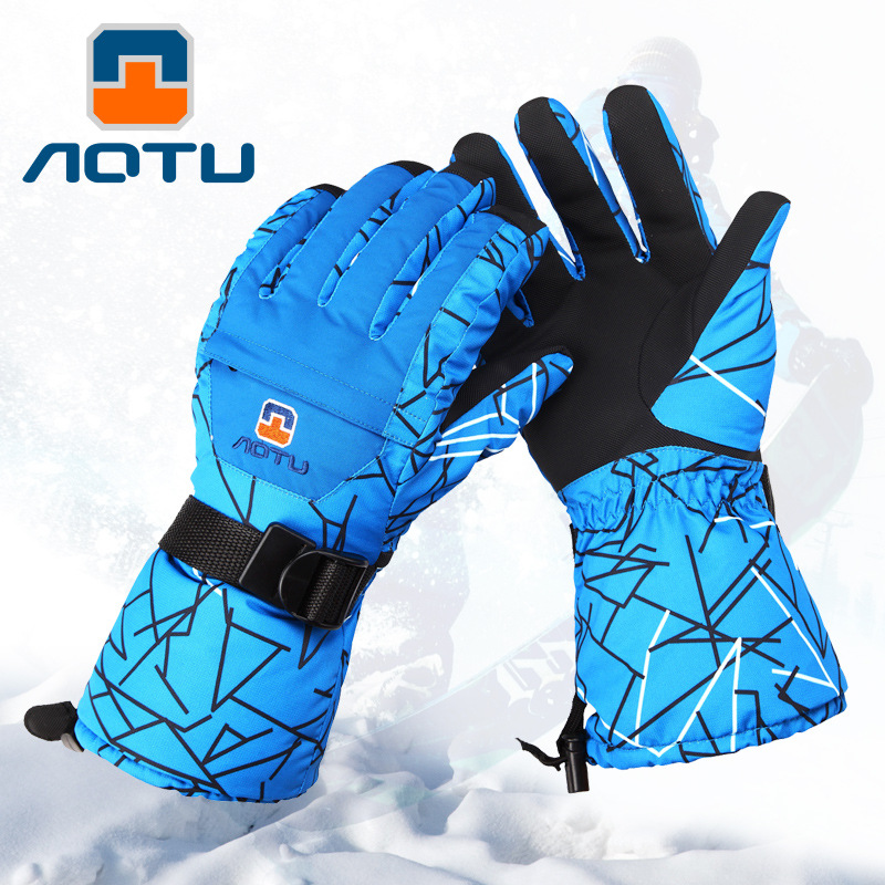 Winter Men Women Blue Geometry Skiing Gloves Warm Mountaineering Winter Waterproof Thickened Warm Hiking Riding Gloves