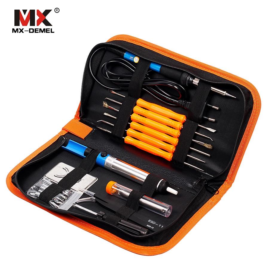MX-DEMEL 220V 110V 60W Adjustable Temperature Electric Soldering Iron Kit+5pcs Tips+Tweezers Solder Wire Welding Repair Tools