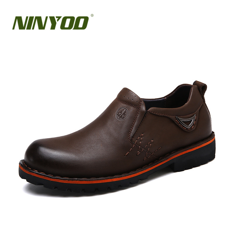 NINYOO Autumn Men's Work Shoes Genuine Leather Casual Wearproof 45 46 Slip on Platform Flats Loafers Man Plus Size 47 48 49 50