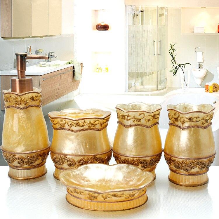 Continental Five-piece bathroom Creative suite wash supplies Wedding suite bathroom resin Cups