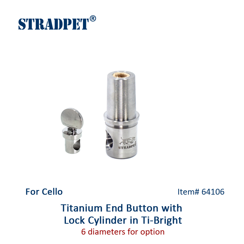 STRADPET Titanium Cello End Button and Lock Cylinder for Diameter 10mm Endpin only in Bright and
