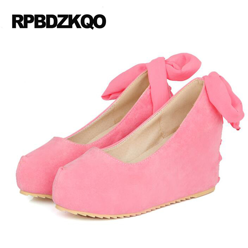 2017 Japanese Round Toe Size 4 34 High Heels Wedge New 3 Inch Hidden Suede Pink Cross Strap Pumps Women Platform Shoes Fashion