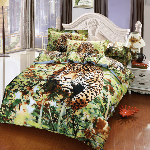 FS 587 Hunting Leopard print bed set 100% Cotton 4pcs animal bedding ...