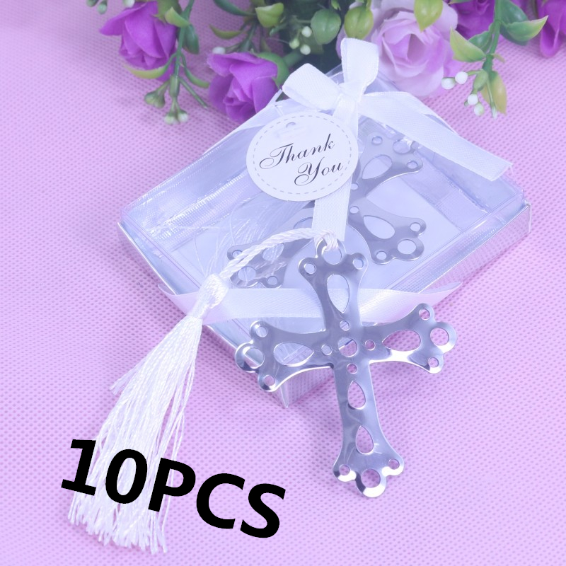 10pcsset Cross Hollow Bookmark Tassel Baby Shower First Regalos
