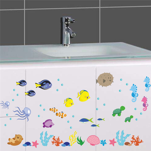PVC Underwater Sea Fish Wall Stickers Bathroom Toilet Nursery Wall Decals  Home Decor Kids Room