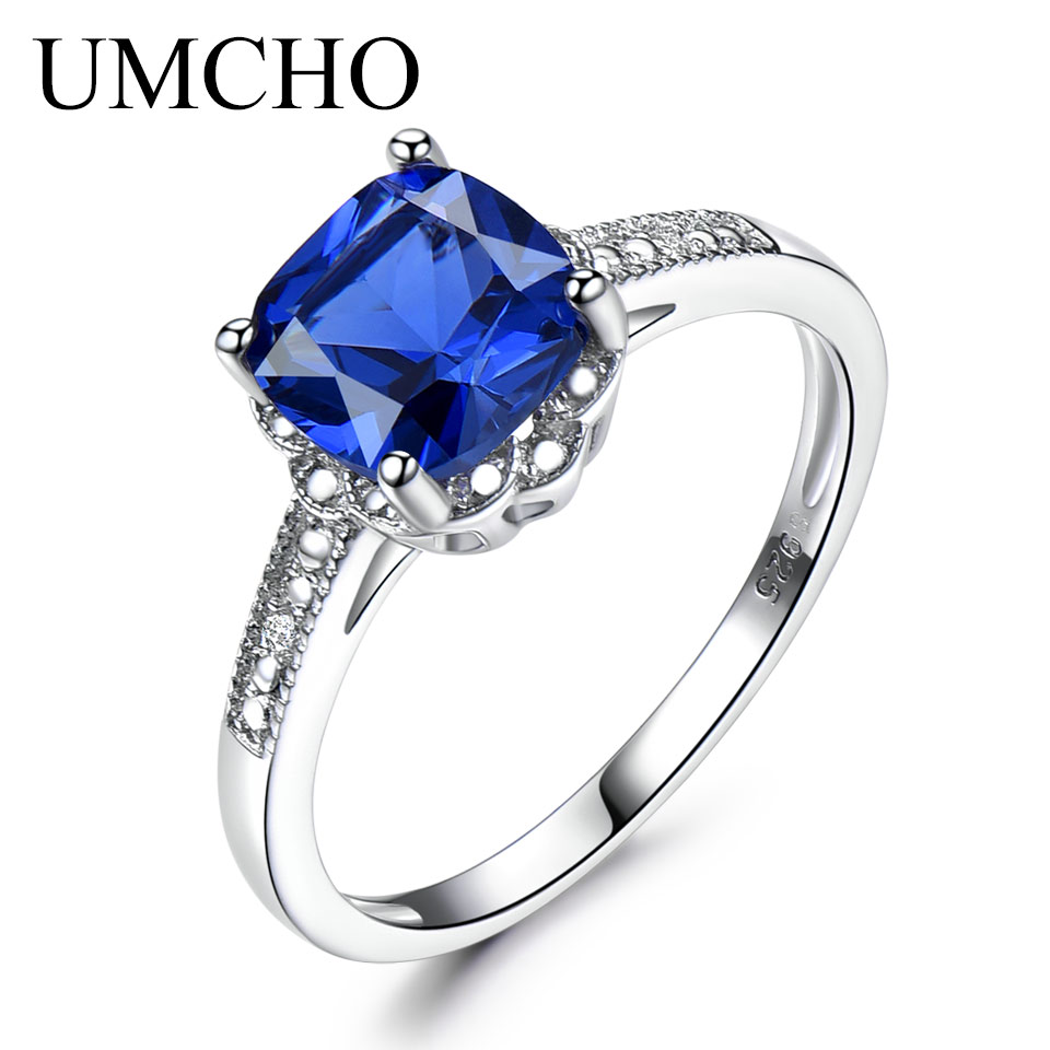 UMCHO Solid 925 Sterling Silver Ring Blue Sapphire Rings For Women Tanzanite Birthstone Gifts Costume Engagement Jewelry umcho luxury tanzanite rings for women solid 925 sterling silver gemstone engagement ring sets christmas jewelry gift with box