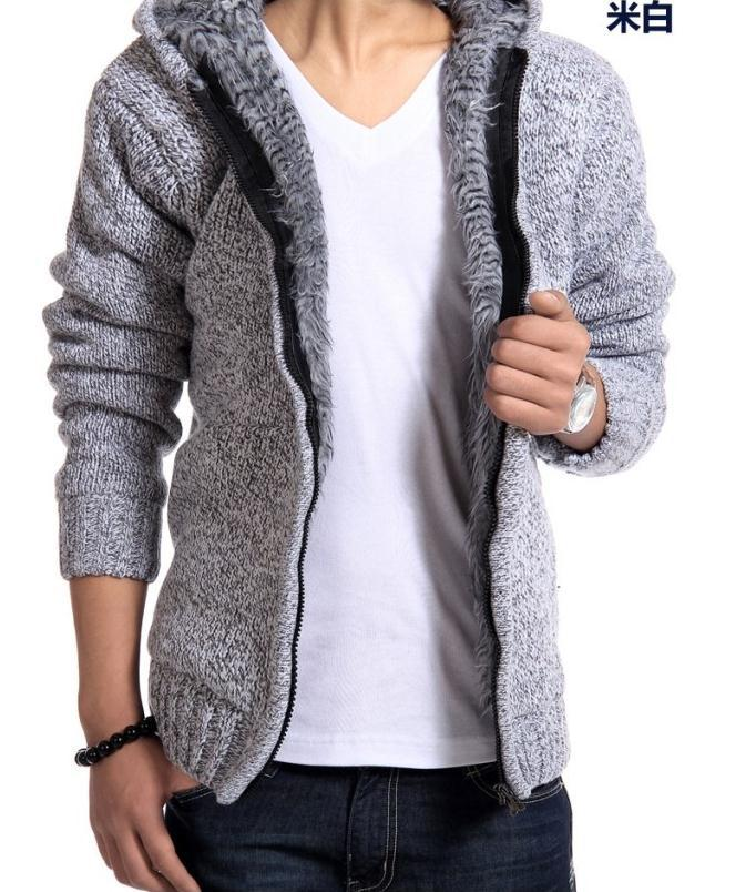 Hot Mens clothing knitted outerwear male thickening hood Long hair sweater outerwear Men liner cardigan sweater male W136