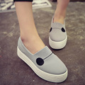 Women Fashion Platforms Thick-soled Flats Shoes 2015 Ladies Canvas Loafers Shoes Creepers Footwear Lazy Shoes Mujer lona Zapatos