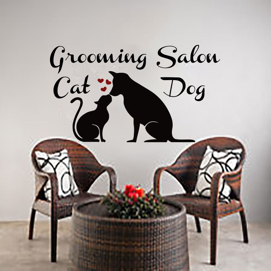 Grooming Salon Vinyl Wall Decal Pet Salon Dog Cat Vet Clinic Art Wall Sticker Pet Shop Grooming Salon Decoration
