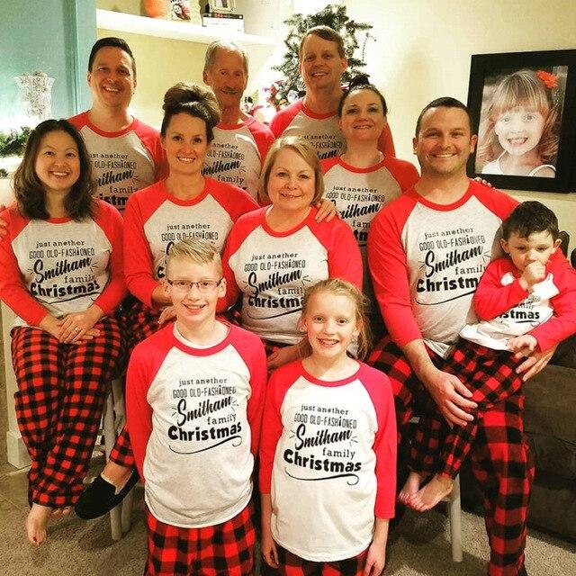 Navidad Ano Nuevo Familia Mirar A Juego Ropa Pijama Ninos Romper