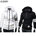 2017 New Arrival Winter Men Sweatshirt 2 concise splicing color Plus size man cotton hoodies square collar sportwear jacket coat