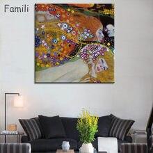 Quadros Gustav Klimt – peinture à l'huile imprimée maman et bébé sur toile