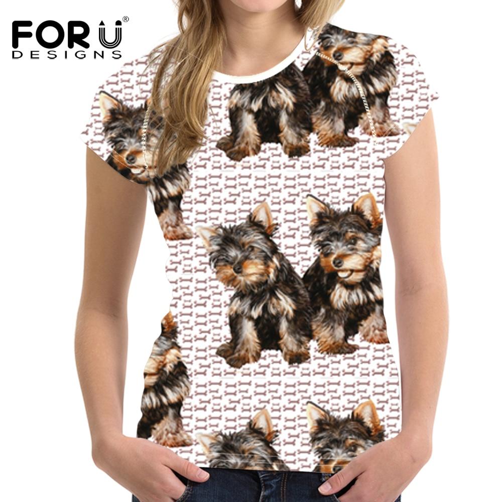 FORUDESIGNS Tops Tees T-shirt Gratë 3D Kawaii Yorkie Shtyp Këmishë T-shirt me mëngë të mbathura me mëngë të gjera 2018 T reja