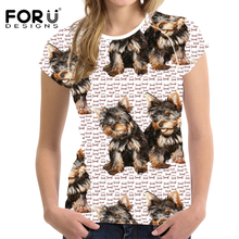 FORUDESIGNS Tops Tees T-shirt Women 3D Kawaii Yorkie Prints Top Shirt Sleeve Tshirt Female T Shirts Feminine T-shirts 2018 New