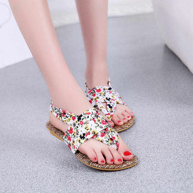 1f87f37d935 2016 Summer Womens Shoes Cute Sandals Bohemian Style Fashion Ankle Strap  Floral Casual Flats Sandals For Women Sandalias Mujer