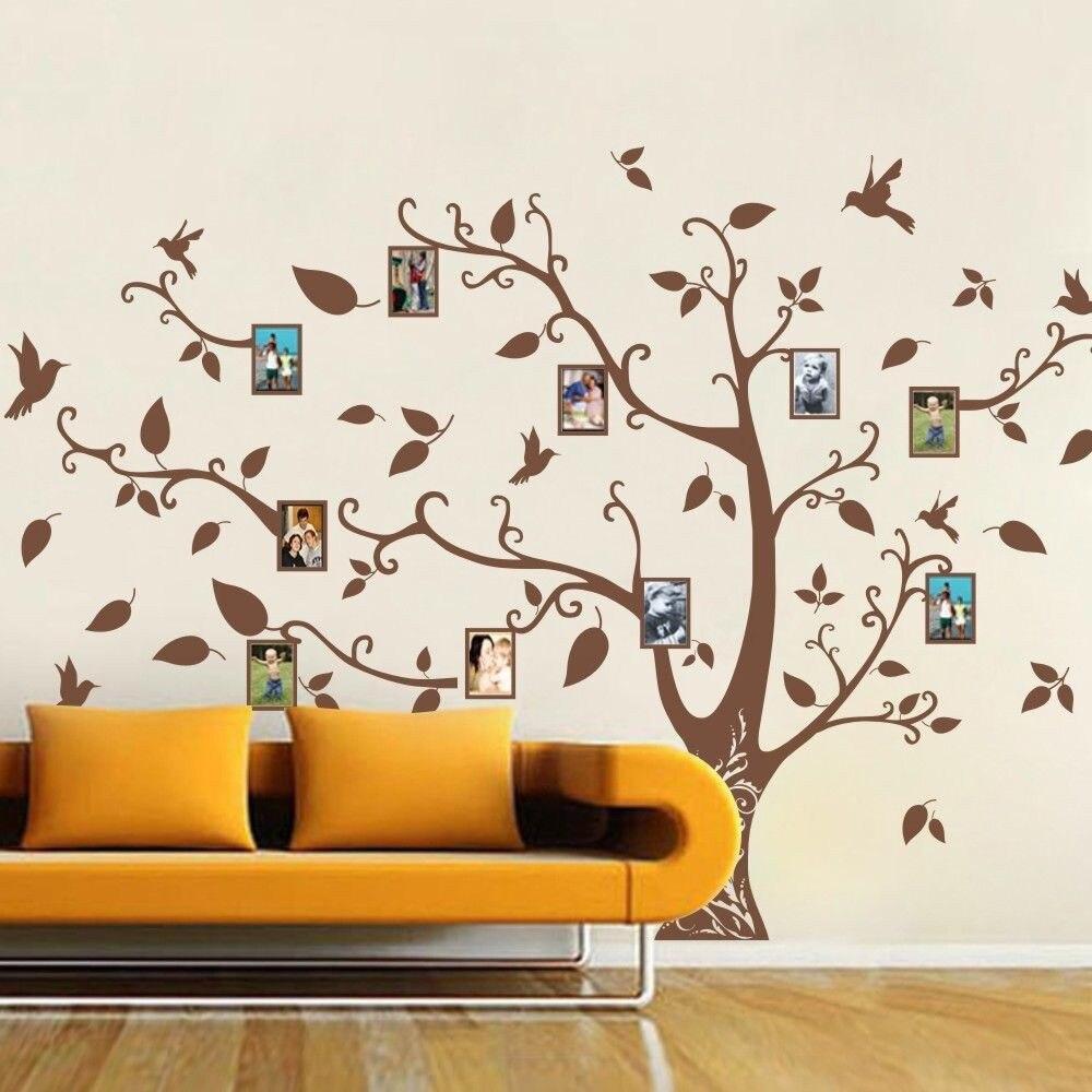 POOMOO décoration murale famille mémoire d'arbre oiseau Sticker mural cadre Photo vinyle amovible décor grand 163x210 CM