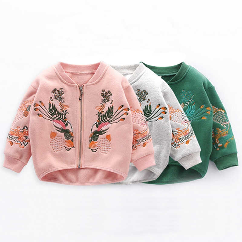 2018 Fashion Embroidery Coat Autumn Baby Girl Clothes Denim Bomber Jacket For Girls Kids Clothes Children Clothing 3 5 6 7 Years