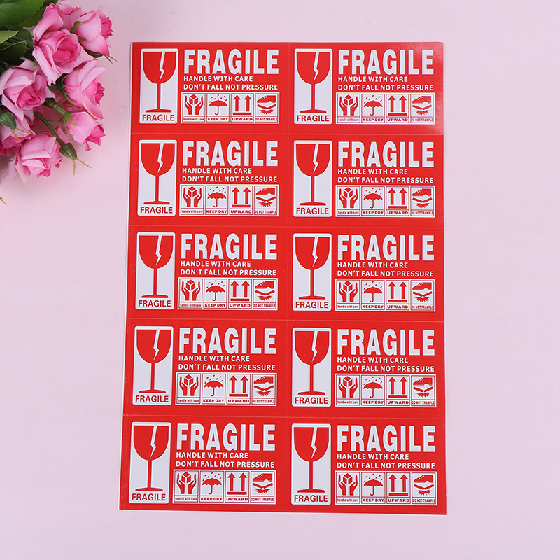 40/50/100/240pcs/lot  Fragile Warning Label Sticker  Fragile Sticker Up And Handle With Care Keep Dry Shipping Express Label