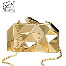 UKQLING Brand Metallic Evening Bags Lady Clutch Purse Party Bag Minaudiere  Handbag with Long Chain Women Bag Phone Gold Silver ca70abd7d160