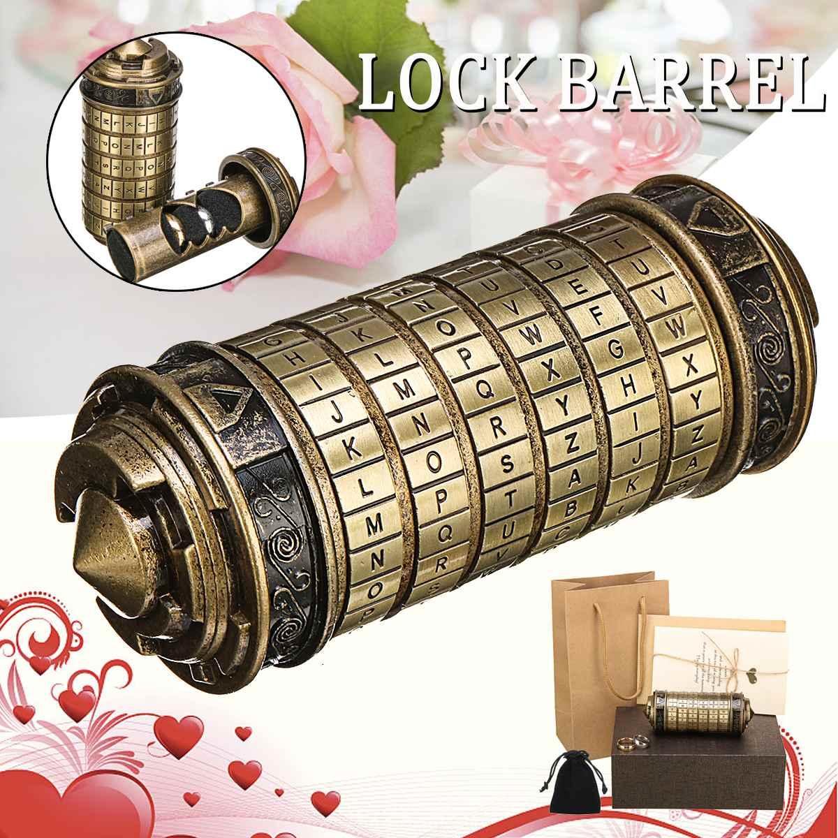 Rétro métal Vinci Code mot de passe Cryptex serrure boîte Mini mariage saint valentin cadeaux romantiques lettre mot de passe accessoires Science jouet