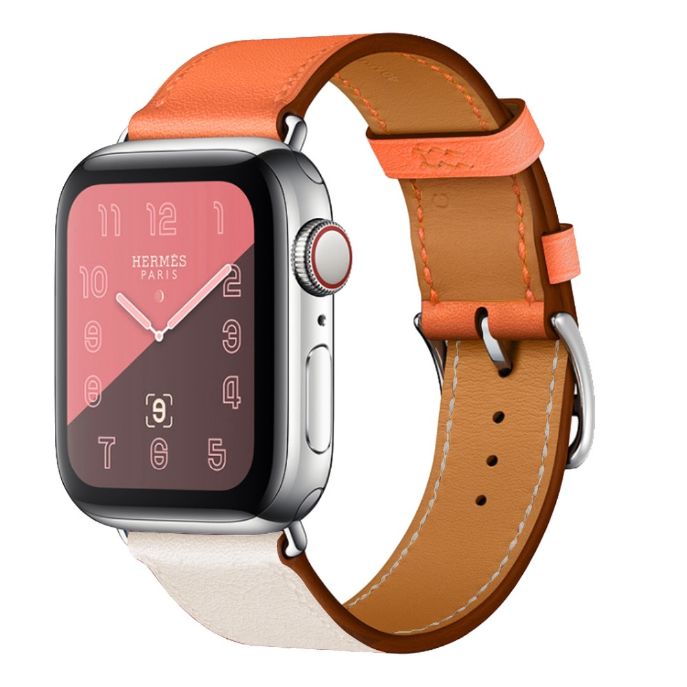 Double Color Genuine Leather Watchband For Apple Watch Band 38mm 42mm For Apple iwatch 40mm 44mm Series 1234 Strap Bracelet