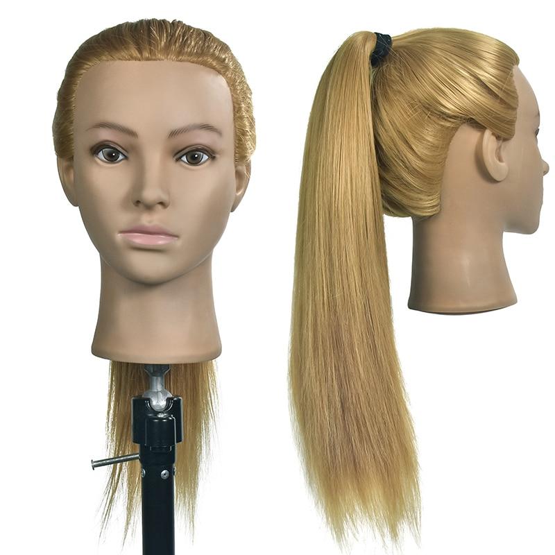 26 inch Hair Styling Mannequin Head Golden Hair Long Hair ...