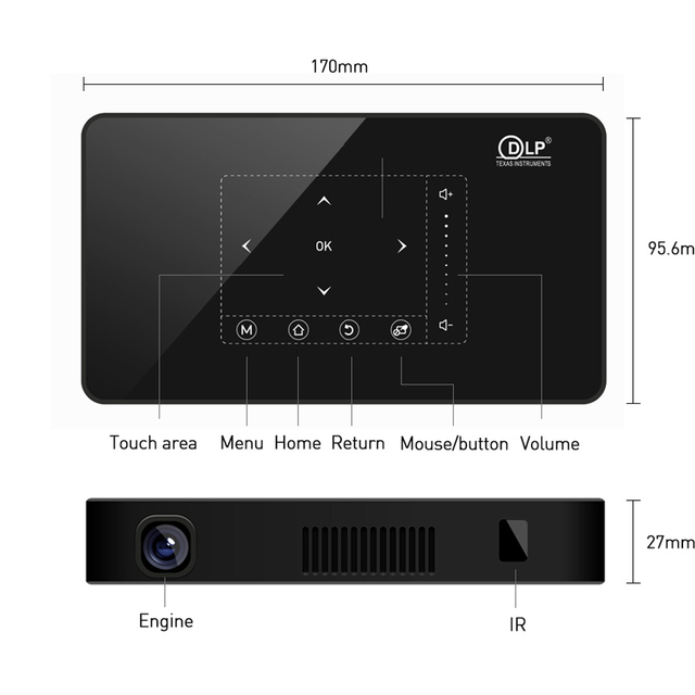 Bluetooth Projector Smart Home Theater Pocket