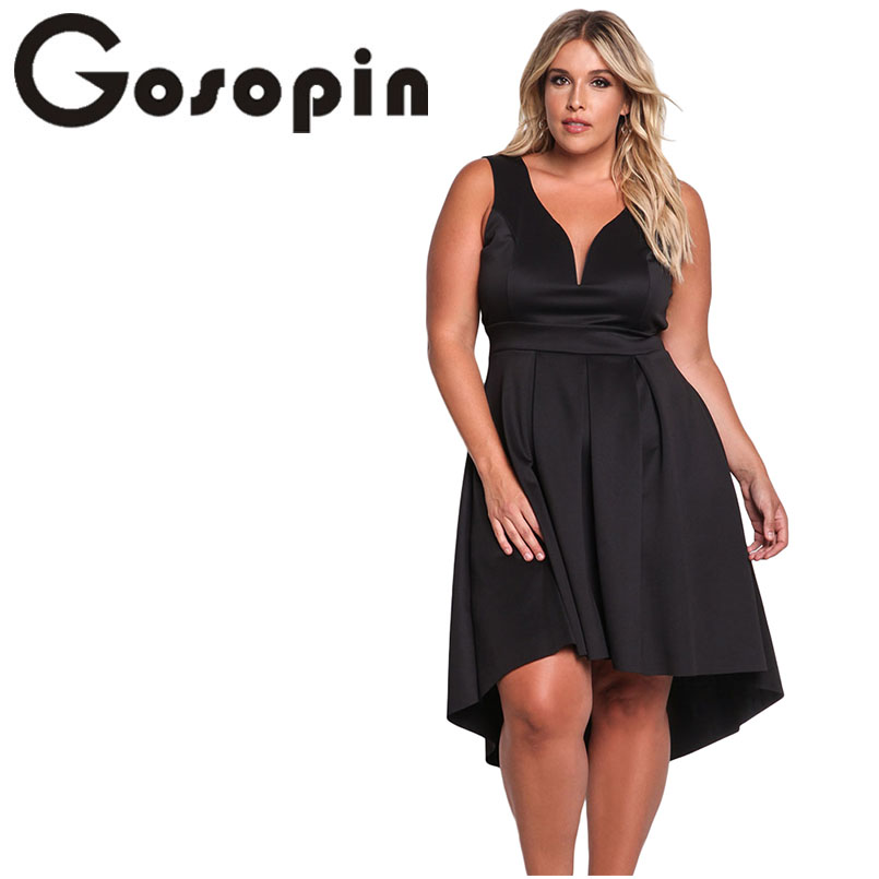 Gosopin Plus Size Sexy 4XL Party Dress V Neck Asymmetrical Pleated 2018 Oversize Women Dresses Summer Club Vestidos Mujer 61900