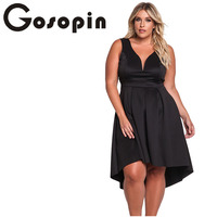 Gosopin Plus Size Sexy 4XL Party Dress V Neck Asymmetrical Pleated 2018 Oversize Women Dresses Summer